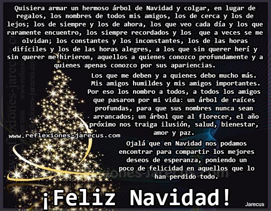 Quisiera armar un hermoso árbol de Navidad y colgar, en lugar de regalos, los nombres de todos mis amigos, los de cerca y los de lejos; los de siempre y los de ahora, los que veo cada día