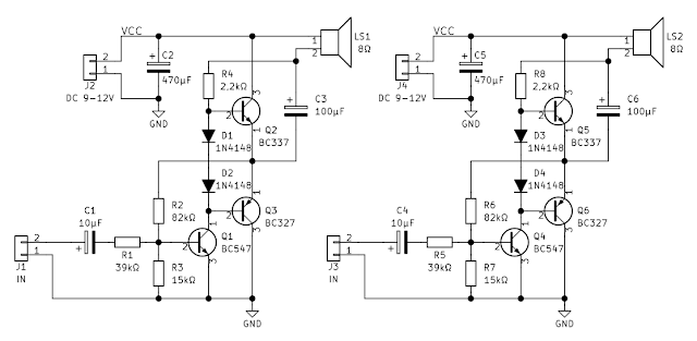 Audio amplifier with common transistors schematic