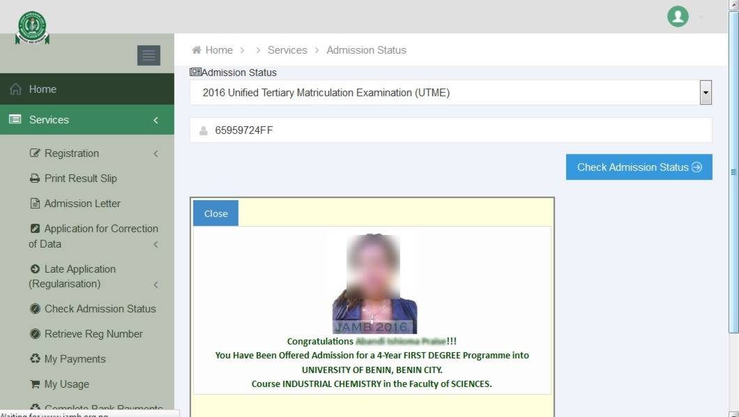 Type In Your Jamb Registration Number Click On Check Admission Status
