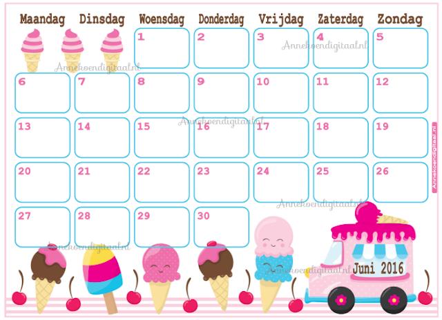 kalender voor kinderen, aftelkalender, juni kalender, maandkalender, #kalender, kalender zelf printen, stoere kalender, kawaii kalender, kalender printable, kalender download,