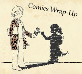 comics wrap-up title image with manga-style woman handing a flower to her child-like shadow