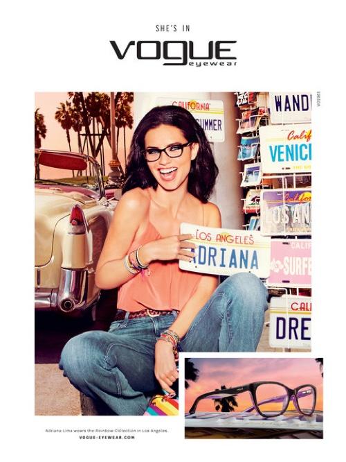 Adriana Lima stars in Vogue Eyewear's SS 2016 campaign