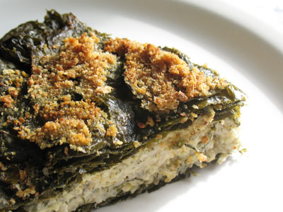 grape leaf pie with yogurt, herbs and quinoa