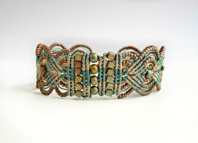 Micro macrame bracelet in khaki and greens from Knot Just Macrame.