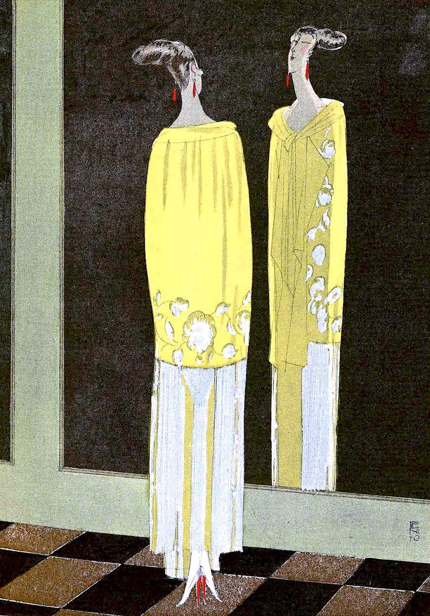 a color 1920s fashion illustration by Benito, a woman standing at her mirror