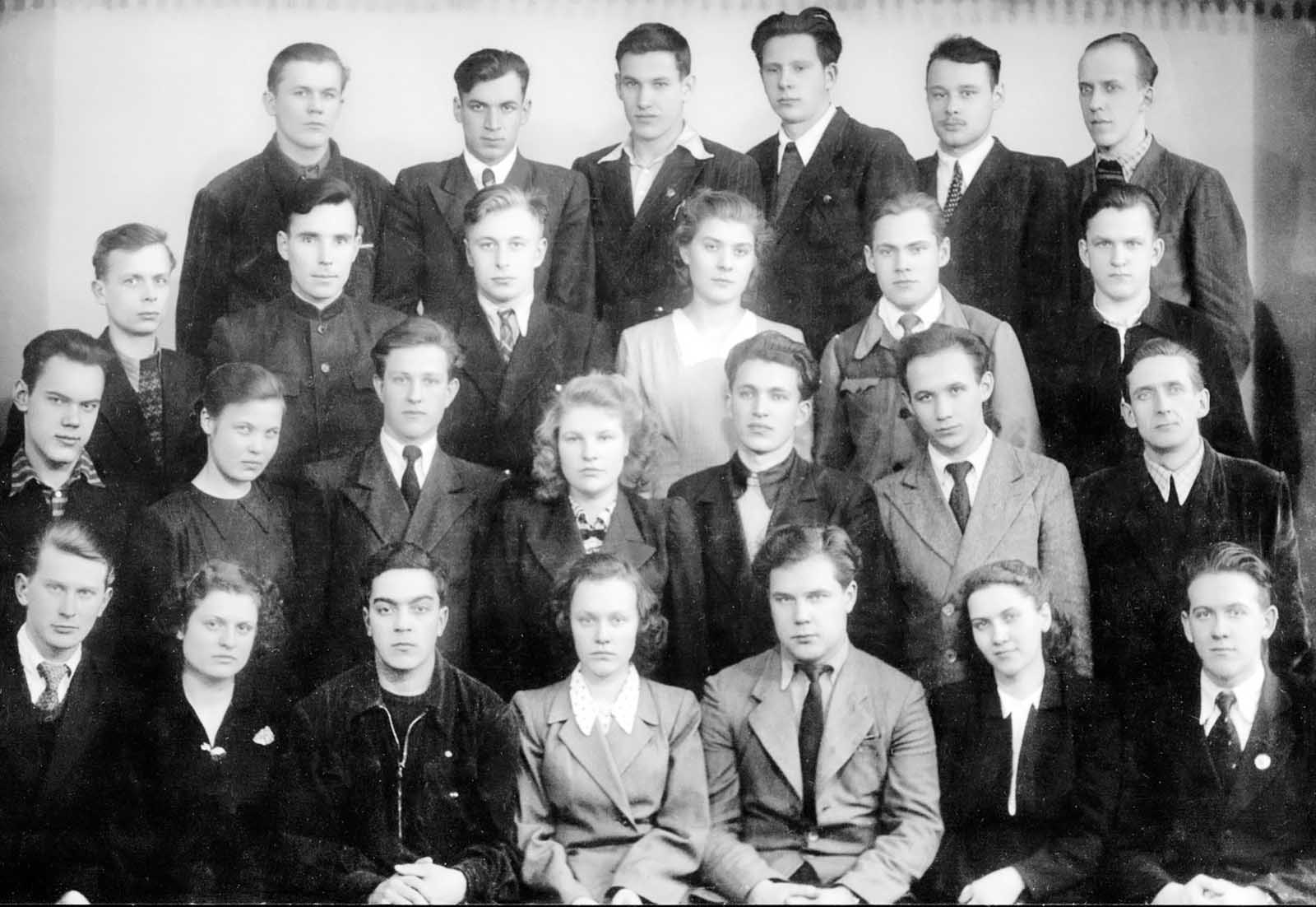 Yeltsin in college, forth row, third from the left. 1953.