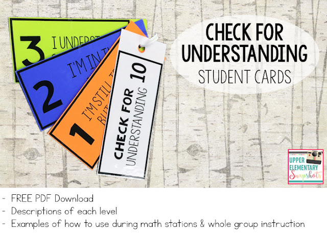 student self-assessment cards - check for understanding - three levels