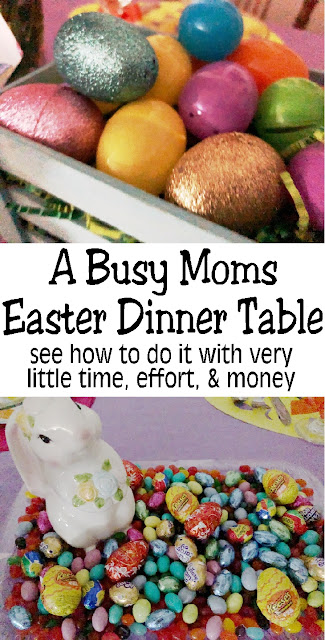 As busy moms we don't have time to go too crazy with our holiday plans, so it's nice when it's easy to pull together an awesome Easter dinner table without spending too much time or money. This Easter dinner is perfect for family dinners and great memories. #easterdinner #easterparty #dinnertable #diypartymomblog