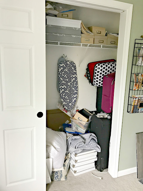 Organizing a messy bedroom closet