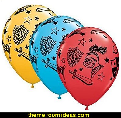 Knights & Armour 11 Inch Latex Balloons medieval knights party props - castle theme party decorations - Medieval theme party decorating - Castle party props - princess party props - knight and princess costumes - Princess & Knight party ideas - Medieval wall decorating kit - harry potter party supplies - Medieval Birthday Party