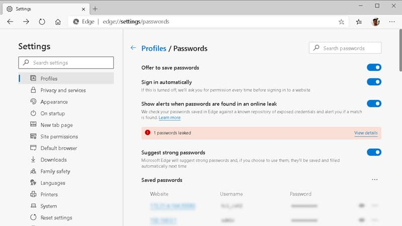 How to turn ON the 'Password Monitor' in Microsoft Edge?