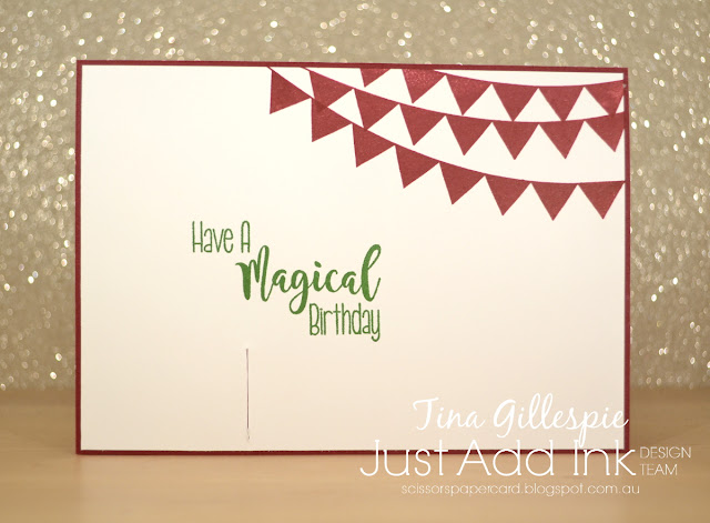 scissorspapercard, Stampin' Up!, Kindred Stamps, Just Add Ink, Waterfront, Pick A Pennant, Wizard Friends, Students Of Magic, Bendy Card