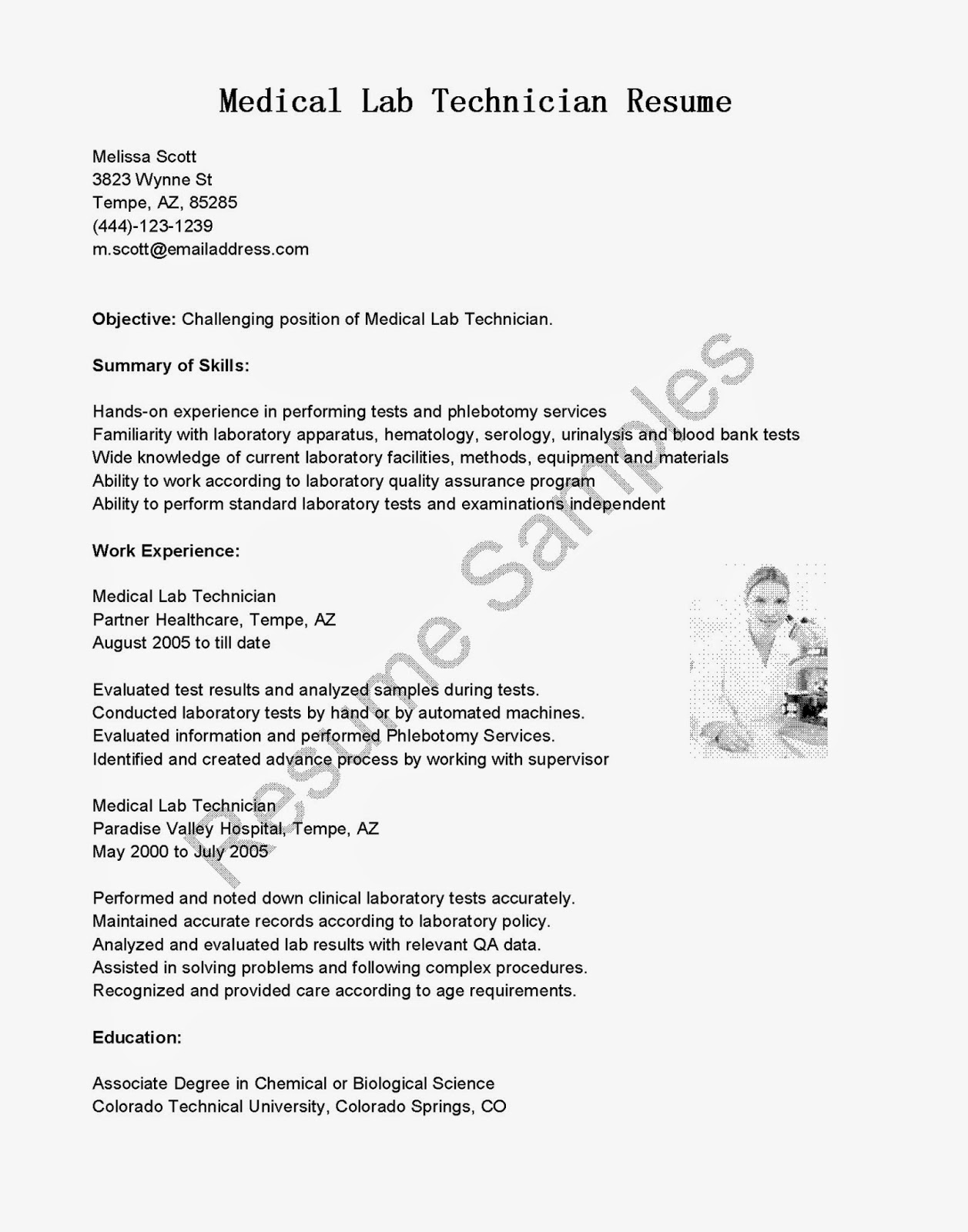 resume samples  medical lab technician resume sample