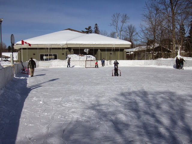 Outdoor ice rink with children skating and playing ice hockey