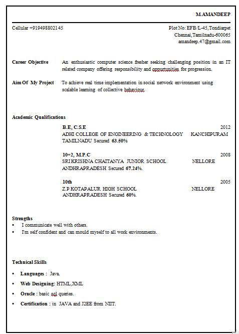 Resume templates for Sample resume for fresher mechanical engineering student