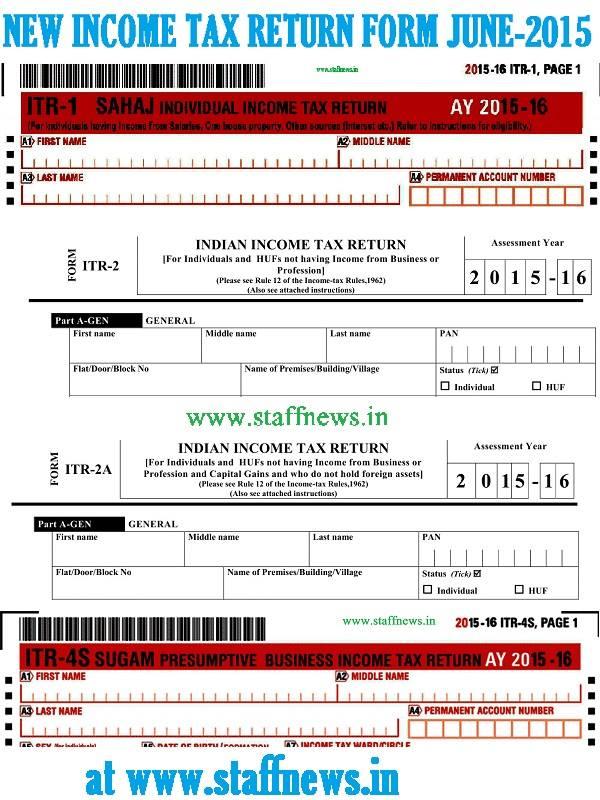 Simplified Income Tax Return Form Sahaj ITR-1, ITR-2, ITR-2A  Sugam