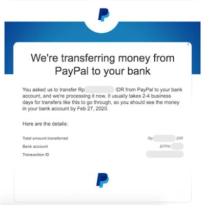 Email pemberitahuan proses pengiriman uang dari Paypal, Transfer Paypal ke Jenius, masbobz.com, transfer dari paypal ke jenius, transfer uang dari paypal ke jenius, cara transfer paypal ke jenius