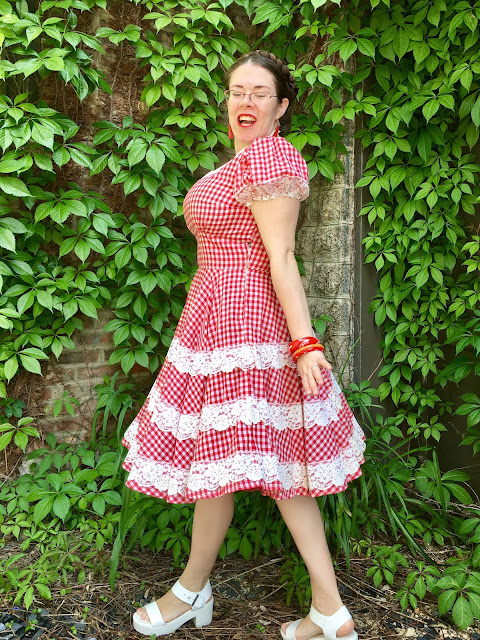 vintage red gingham dress