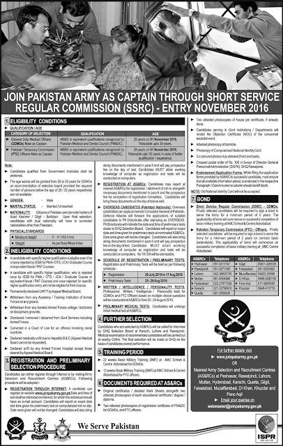 SSRC Jobs in Pak Army As Captain through Short Service Regular Commission 2016