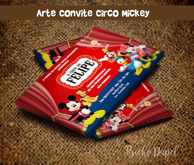 Arte Convite Circo Mickey