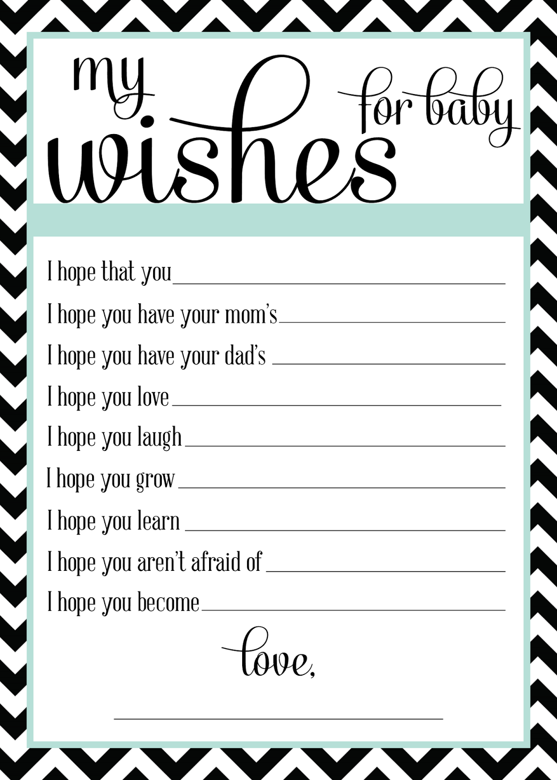 Sugar queens wishes for baby for Wishes for baby printable template