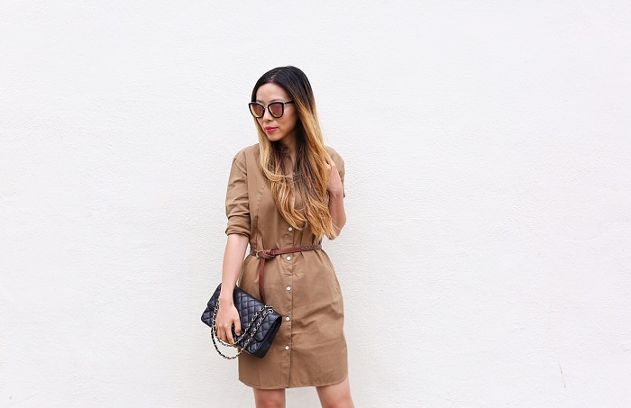 Everlane shirt dress, everlane tweed shirt dress, chanel classic flap bag, quay sunglasses, lace up booties, how to dress up a shirt dress