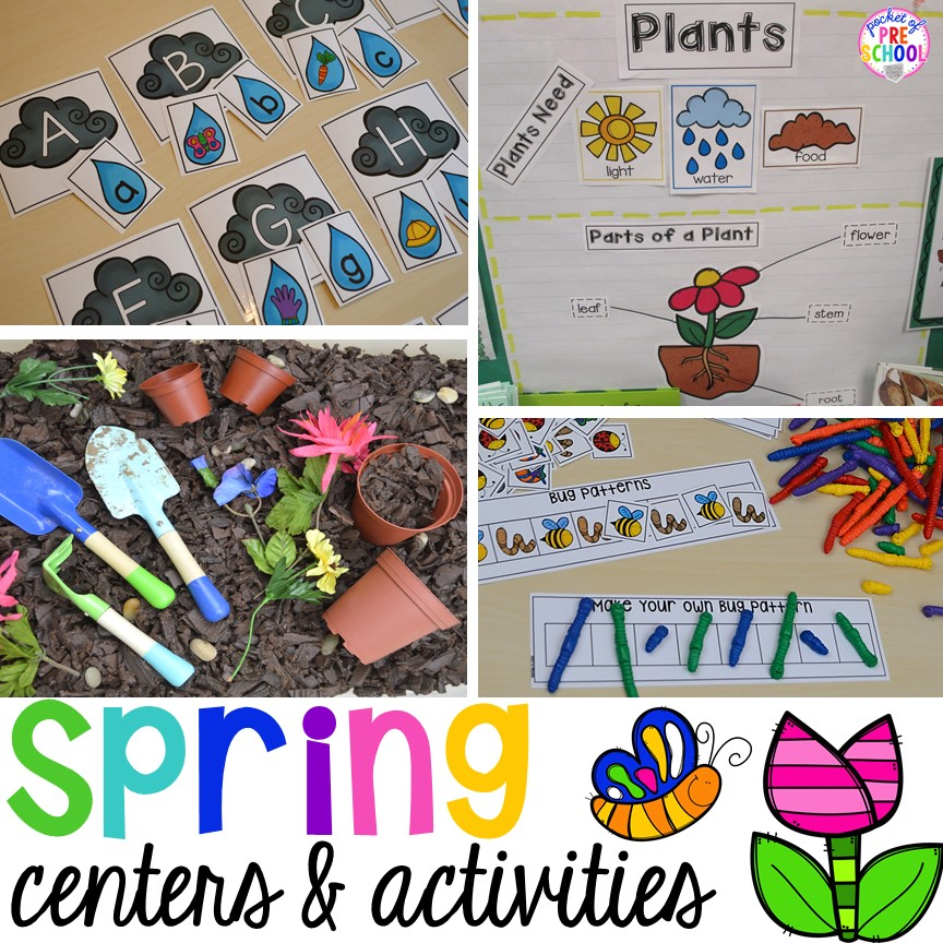 Plant Needs and Life Cycle Posters FREEBIE plus all my favorite Spring themed writing, math, fine motor, sensory, literacy, and science activities for preschool, pre-k, and kindergarten.