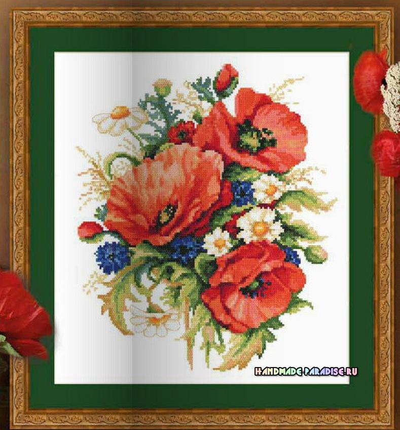 Вышивка. Букет полевых цветов с васильками, ромашками и маками