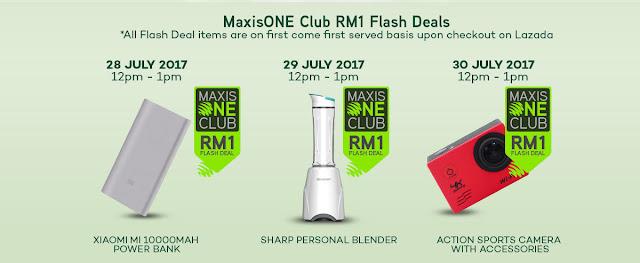 Lazada Malaysia Maxis ONE Club RM1 Flash Sale Deals
