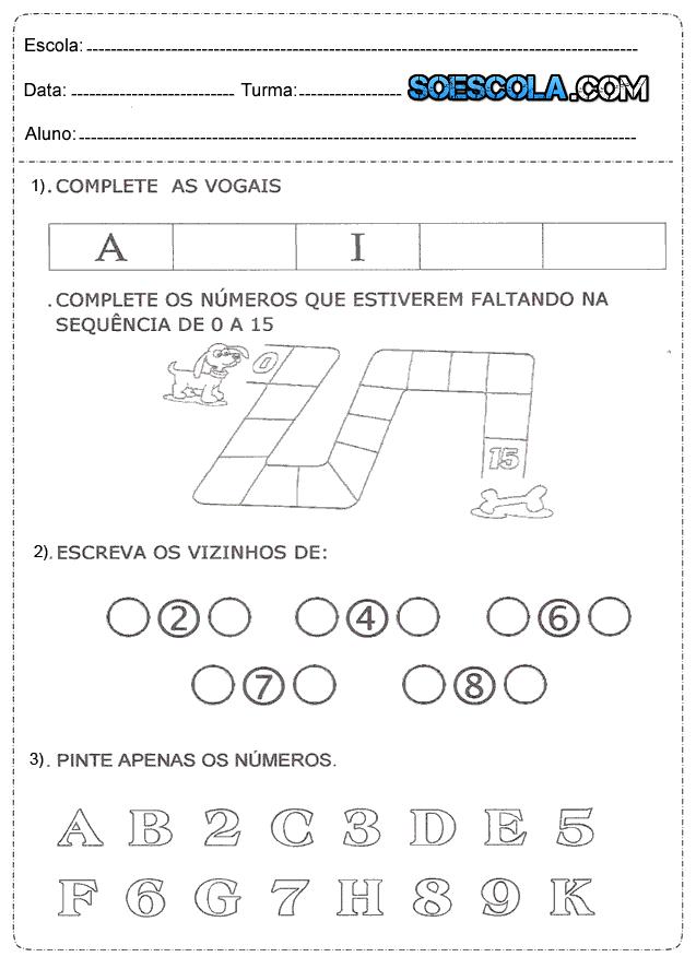 Atividades De Matemática Do 1 Ano Para Imprimir Só Escola