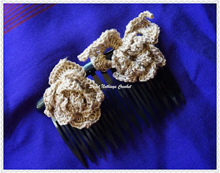 free crochet pattern rose hair barrette