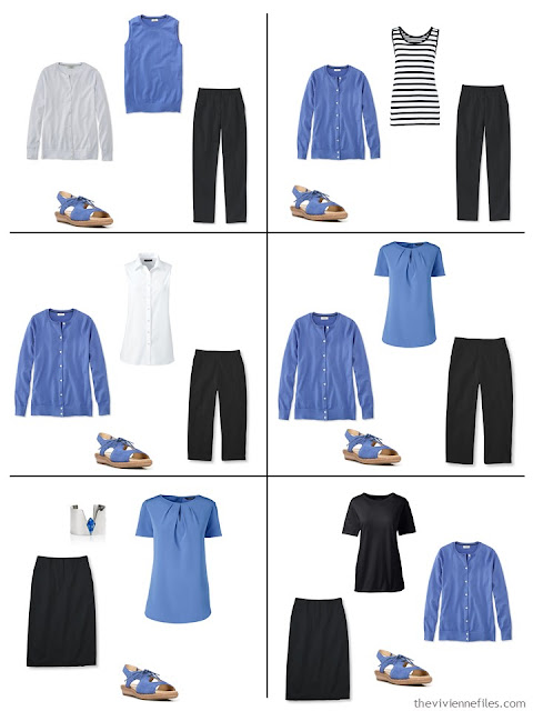 six outfits in black, white and French Blue for warm weather