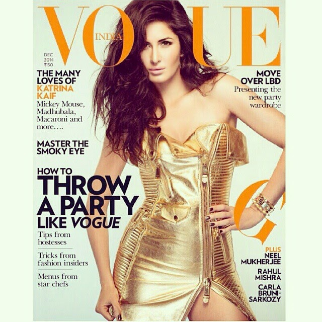 cover story♥ katrina kaif in gold moschino @moschino dress on the cover of vogue @vogueindia magazine. not feeling that phewww..expression on the face. loving the dress and hair. the brooch , 