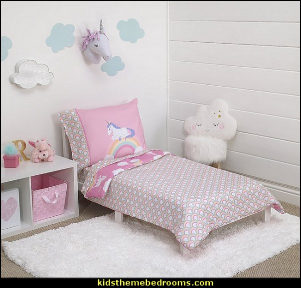 Rainbow Unicorn Toddler Bedding Set  unicorn bedding - unicorn decor - unicorn bedroom ideas - unicorns - Unicorn & Rainbows bedrooms -  unicorn duvet - fantasy theme bedroom decorating ideas - fairytale bedrooms decor - pegasus decor - unicorn wall murals - Unicorn bedroom decor - unicorn wall decals - unicorn baby bedrooms - unicorn baby girl bedroom -
