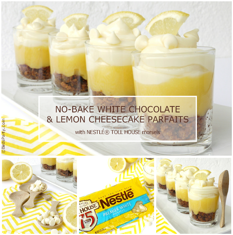 NO-BAKE White Chocolate & Lemon Cheesecake Recipe - BirdsParty.com