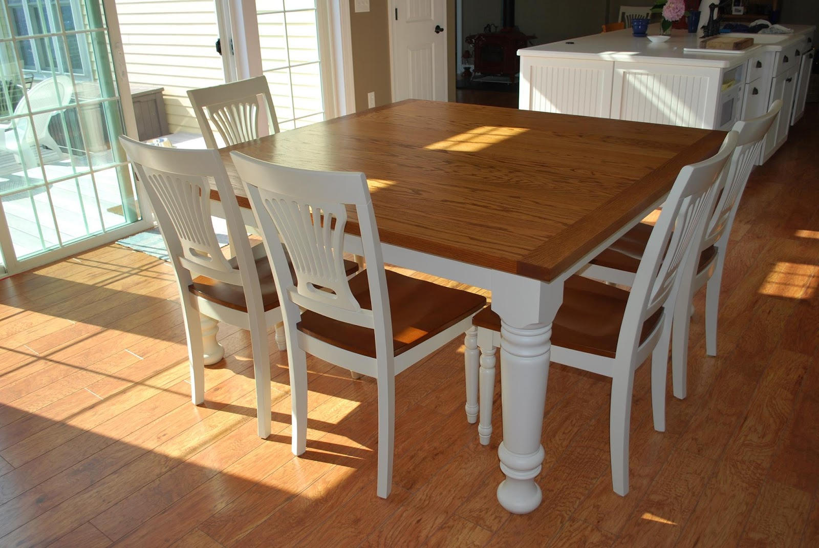 Style kitchen table and chairs oak farmhouse chairs best for Farm style kitchen table