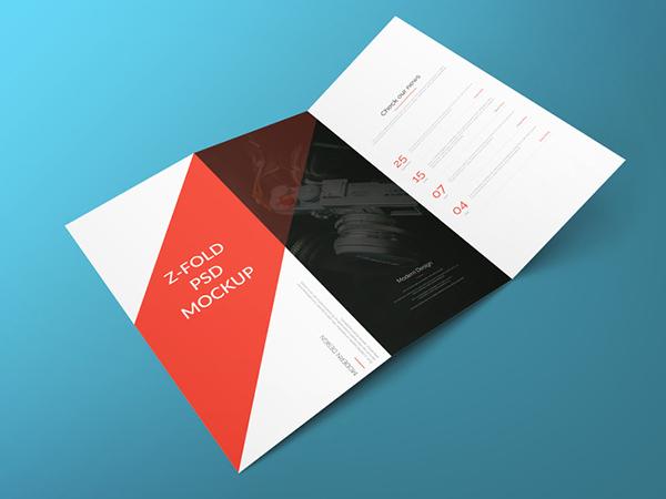 Download Gratis Mockup Majalah, Brosur, Buku, Cover - Z Fold Brochure Free PSD Mockup