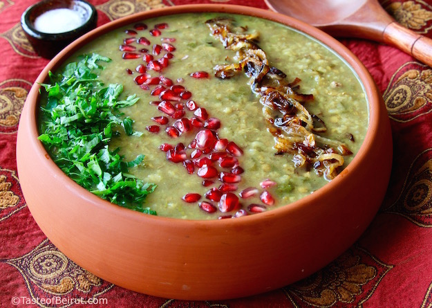 recipe calls for ground beef or lamb or veal Pomegranate soup (Ashe-e-anar) recipe