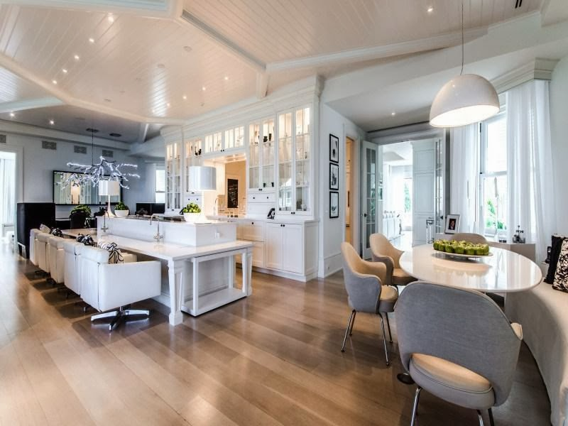Contemporary kitchen and dining room in Custom built celebrity home for Celine Dion