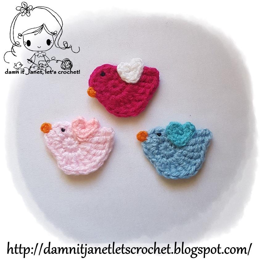 Damn It Janet Lets Crochet Bird Applique