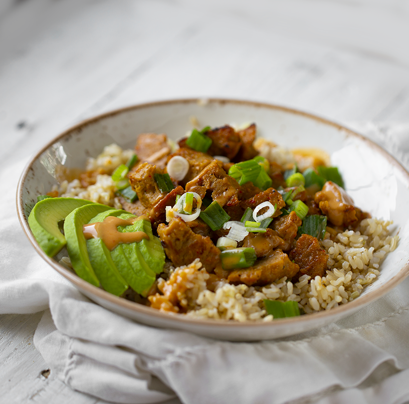 Speedy Peanut Seitan Rice Bowl