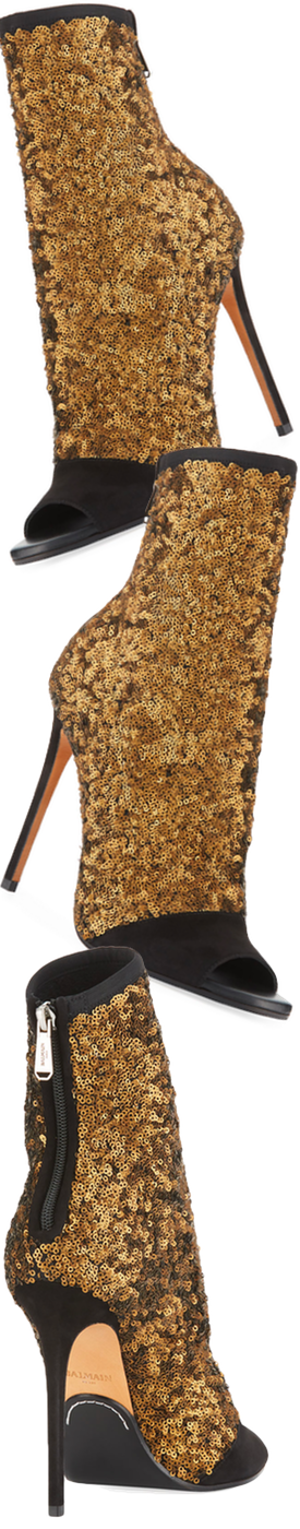 Balmain Fay Glitter Open-Toe Ankle Boot