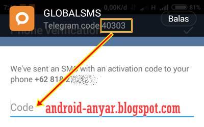 Kode Verifikasi Pendaftaran Telegram di Android