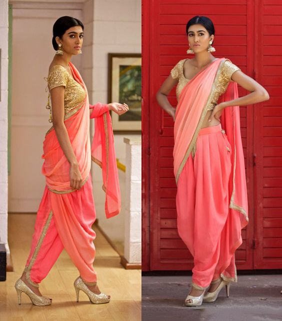 2311dd4a47 This is more of a hassle free drape as the dhoti pants are quite  comfortable to carry along with the pallu.