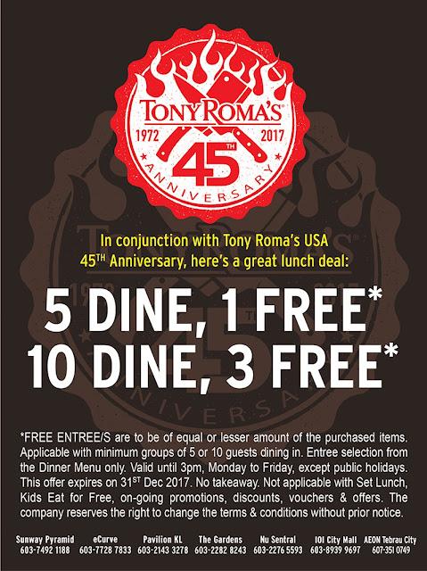 Tony Roma's Malaysia Free Lunch Entree Deals