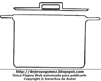 Dibujo de Olla de cocina (alto y grande) con dos asas para colorear, pintar e imprimir. Dibujo de olla hecho por Jesus Gómez