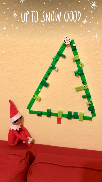 Elf on the Shelf LEGO Christmas Tree using green Mayka toy block tape