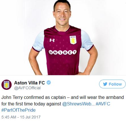 John Terry Named Aston Villa Captain For 2017/18 Season