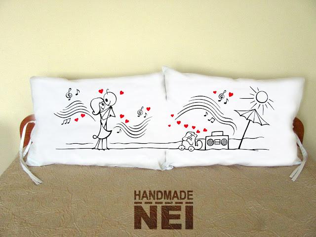 """Handmade Nel: Калъфки за възглавници за влюбени """"Кизомба двойка"""""""