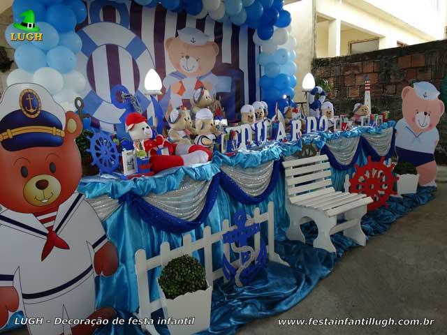 Decoração Tema infantil para aniversário de 1 ano Ursinho Marinheiro